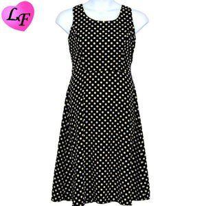Polka Dot Skater Style Piped Dress 12P Black Blue